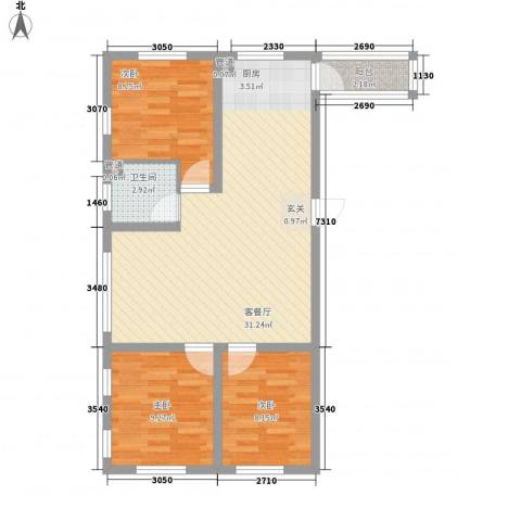 辰威金域尚景3室1厅1卫0厨90.00㎡户型图