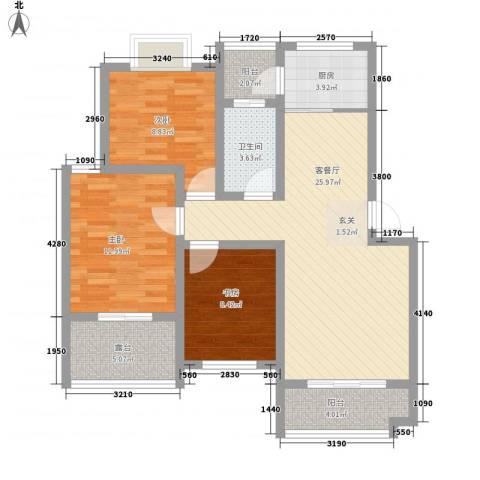 春江花园3室1厅1卫1厨87.00㎡户型图