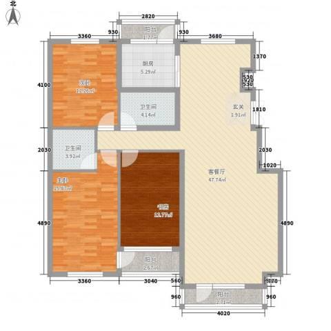 辰威金域尚景3室1厅2卫1厨155.00㎡户型图