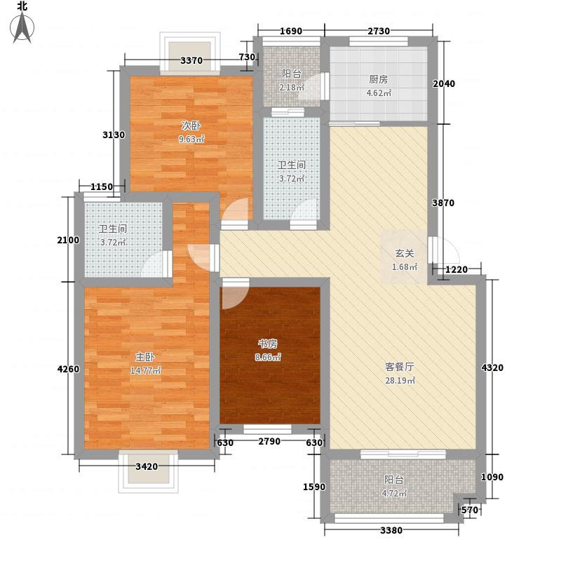 春江花园117.42㎡F2户型3室2厅2卫1厨