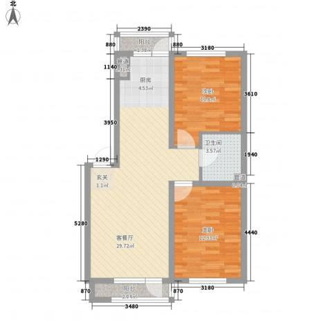 辰威金域尚景2室1厅1卫0厨87.00㎡户型图