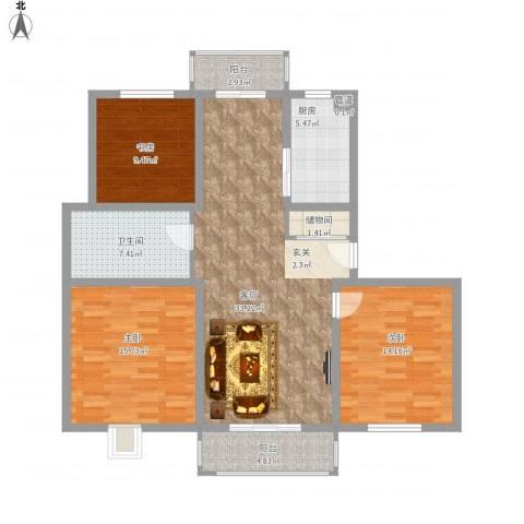 碧螺山庄3室1厅1卫1厨135.00㎡户型图