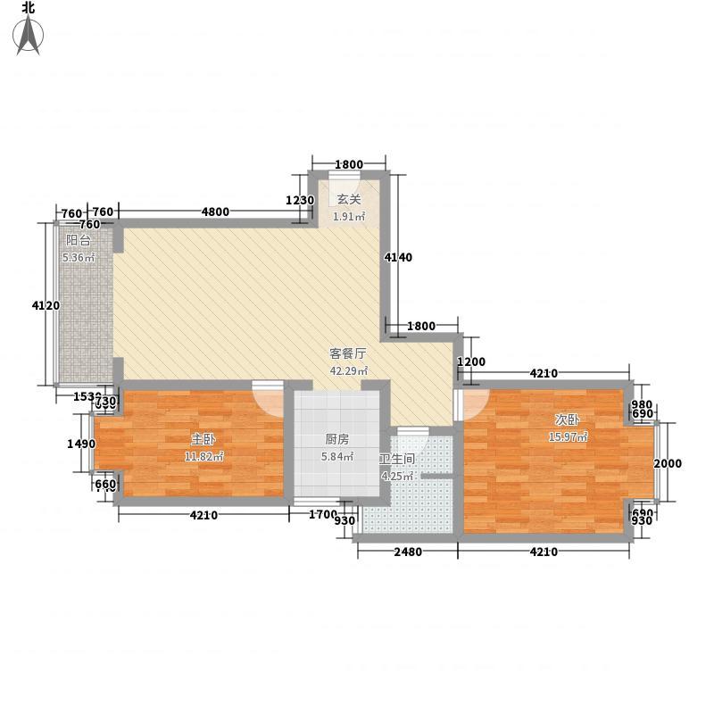 龙江明珠14.15㎡E4户型2室2厅1卫1厨