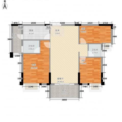 时代花园3室1厅2卫1厨97.19㎡户型图