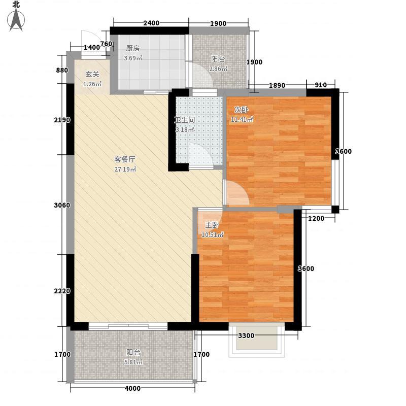 嘉誉・滨河湾85.47㎡户型3室1厅1卫1厨