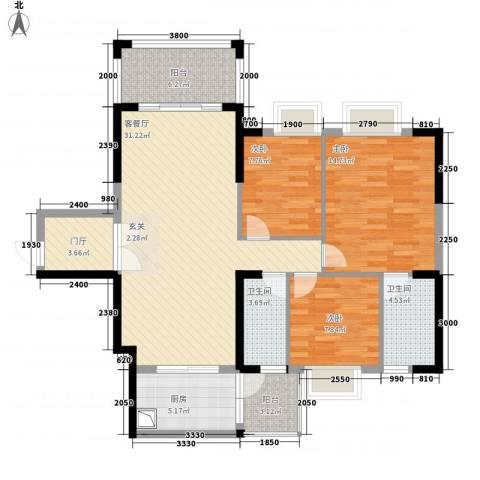 东方明珠花园商住小区3室1厅2卫1厨100.61㎡户型图