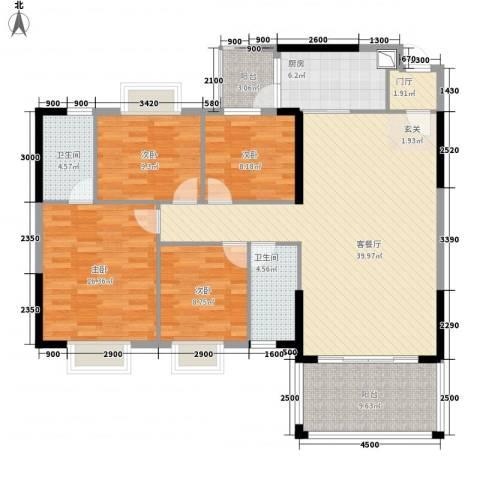 东方明珠花园商住小区4室1厅2卫1厨125.89㎡户型图
