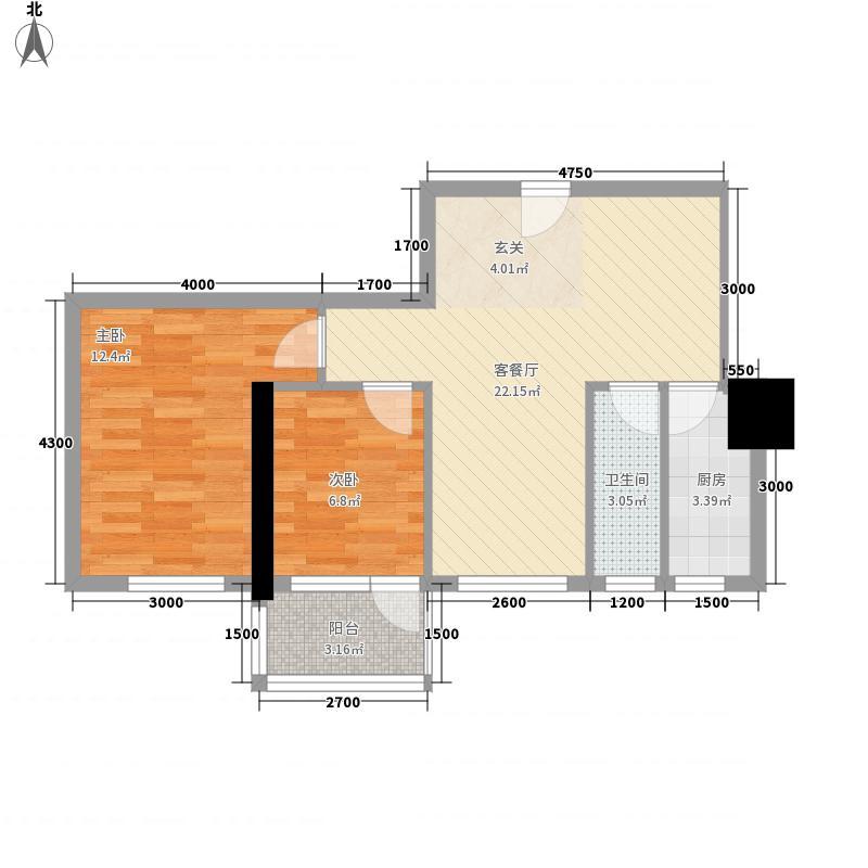 逸彩美寓81.00㎡3栋02单位户型2室2厅1卫1厨