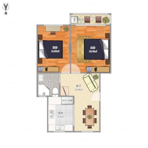 丰庄十三街坊2室1厅1卫1厨68.00㎡户型图