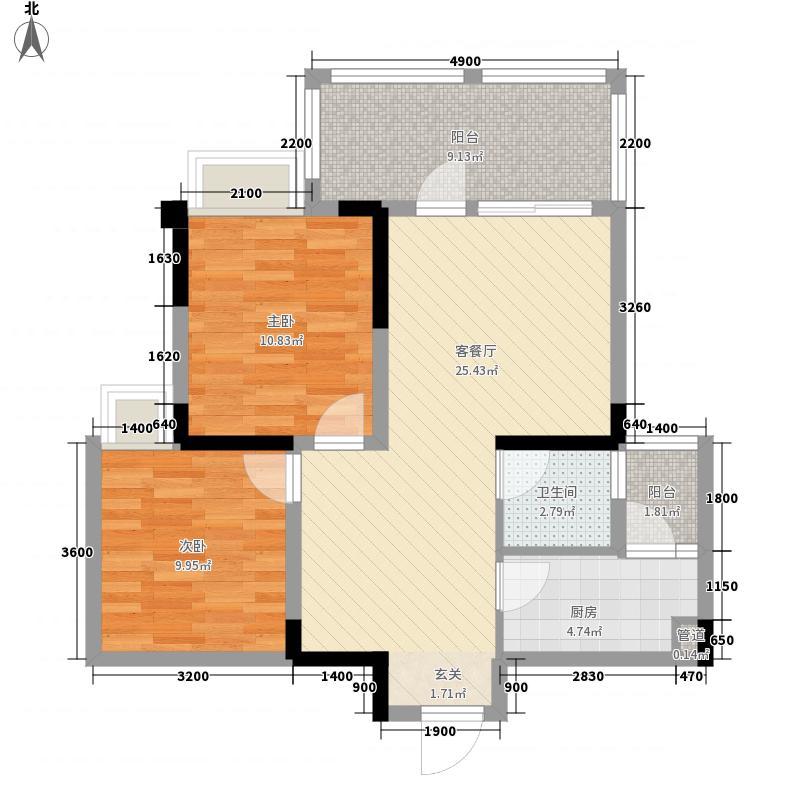 院子2221182.25㎡B户型2室2厅1卫1厨
