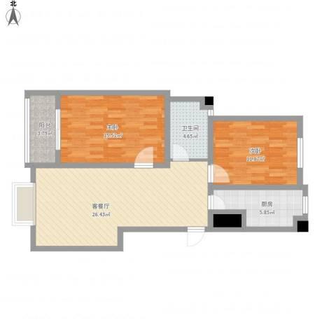 汇通新城2室1厅1卫1厨99.00㎡户型图