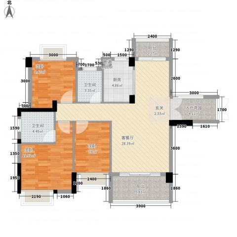 时代花园3室1厅2卫1厨93.43㎡户型图