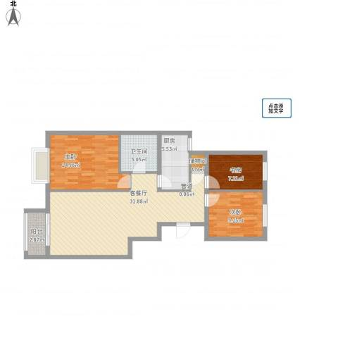 御昌佳园3室1厅1卫1厨110.00㎡户型图