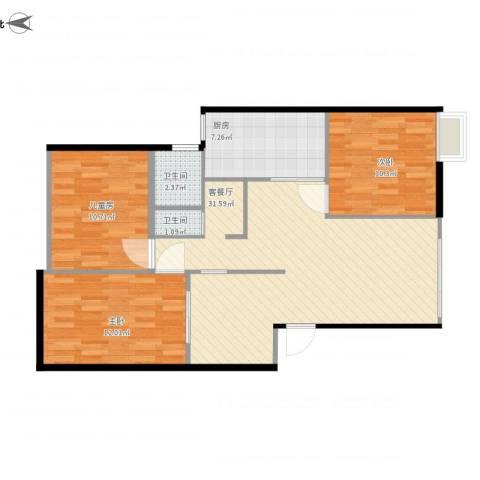 东方花园3室1厅2卫1厨103.00㎡户型图