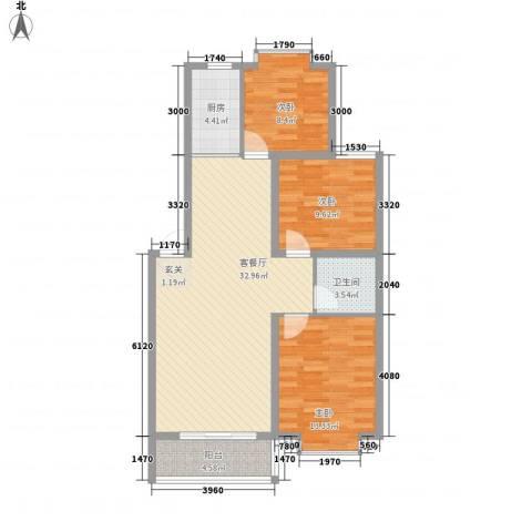 汇景仕嘉3室1厅1卫1厨76.85㎡户型图