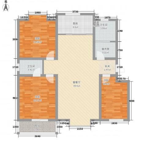 汇景仕嘉3室2厅2卫1厨144.00㎡户型图