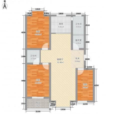 汇景仕嘉3室2厅2卫1厨82.99㎡户型图