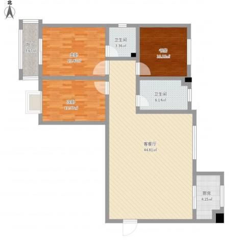 汇通新城3室1厅2卫1厨139.00㎡户型图