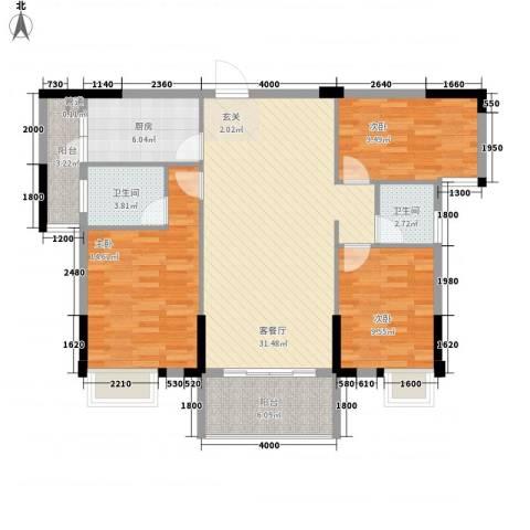 时代花园3室1厅2卫1厨97.96㎡户型图