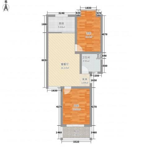 汇景仕嘉2室1厅1卫1厨82.00㎡户型图