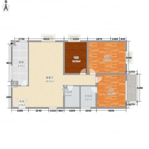 贝特智能佳园3室1厅2卫1厨148.00㎡户型图