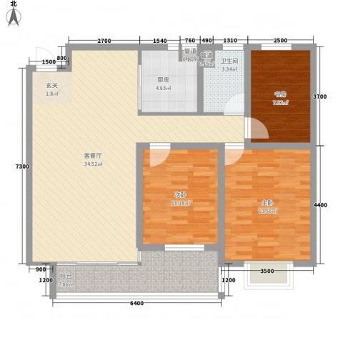 铭星小河印象3室1厅1卫1厨93.96㎡户型图