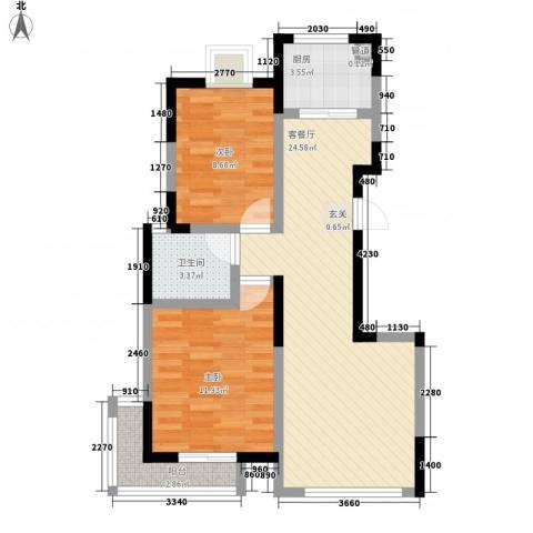 置地新唯花园2室1厅1卫1厨77.00㎡户型图