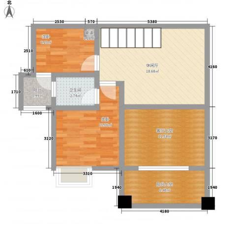 南天・星月国际广场2室0厅1卫0厨57.87㎡户型图