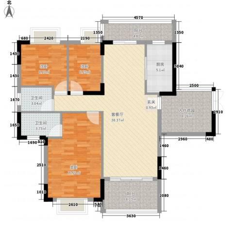 江南名居南区锦苑3室1厅2卫1厨133.00㎡户型图