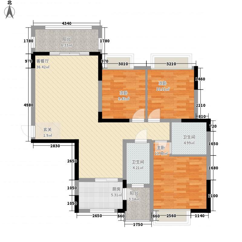 凯旋・湖景水岸12.70㎡6B户型3室2厅2卫1厨