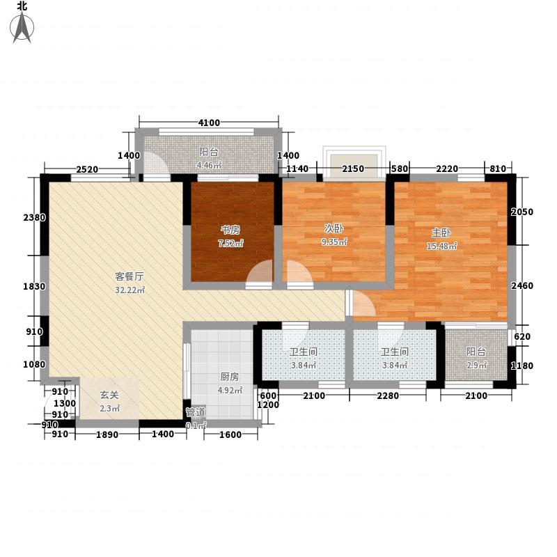 天然居114.80㎡F户型3室2厅1卫