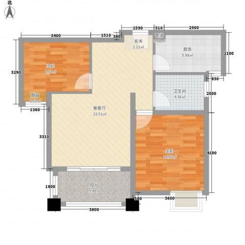新城风尚2室1厅1卫1厨87.00㎡户型图