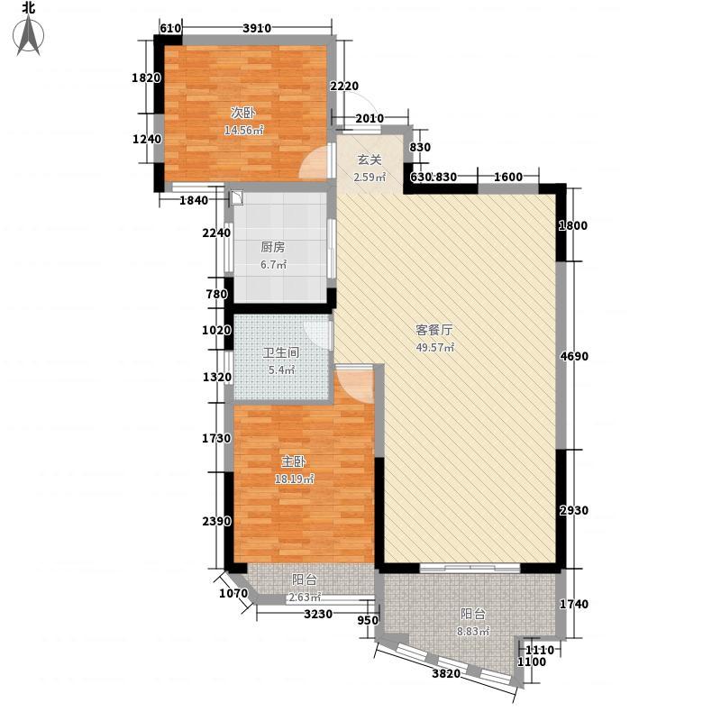 景鸿・东湖翡翠4.14㎡2户型2室2厅1卫1厨