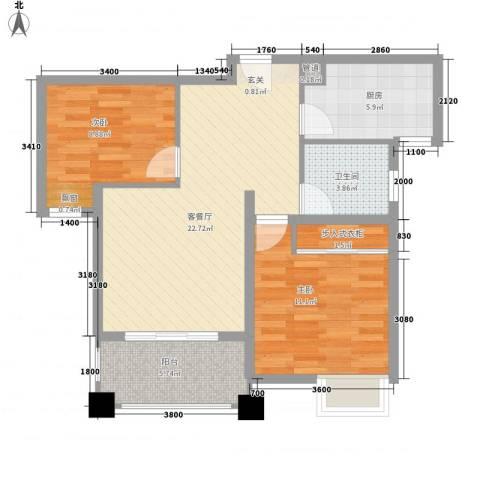 新城风尚2室1厅1卫1厨86.00㎡户型图