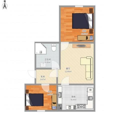 春天花园2室1厅1卫1厨64.00㎡户型图