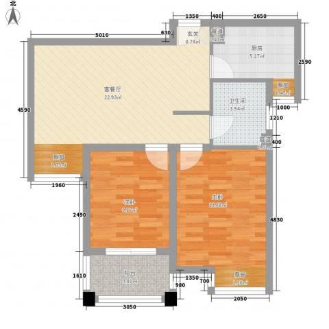 新城风尚2室1厅1卫1厨82.00㎡户型图