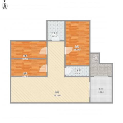嘉信苑3室1厅2卫1厨95.00㎡户型图