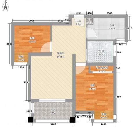 新城风尚2室1厅1卫1厨83.00㎡户型图