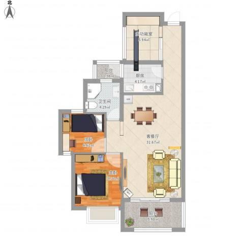 翠堤尚园2室1厅1卫1厨100.00㎡户型图