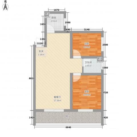 东城100(微笑城堡)2室1厅1卫1厨84.00㎡户型图