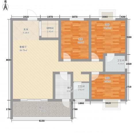 东城100(微笑城堡)3室1厅2卫1厨89.43㎡户型图