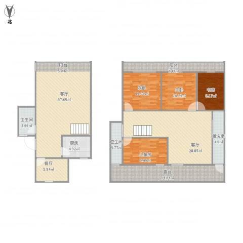 潮鸣苑4室4厅2卫1厨205.00㎡户型图