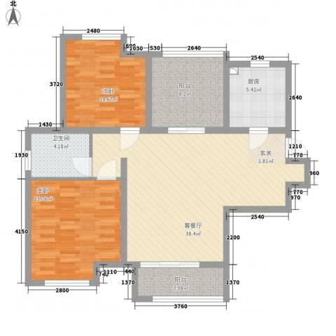 农房・名宿华府2室1厅1卫1厨76.62㎡户型图