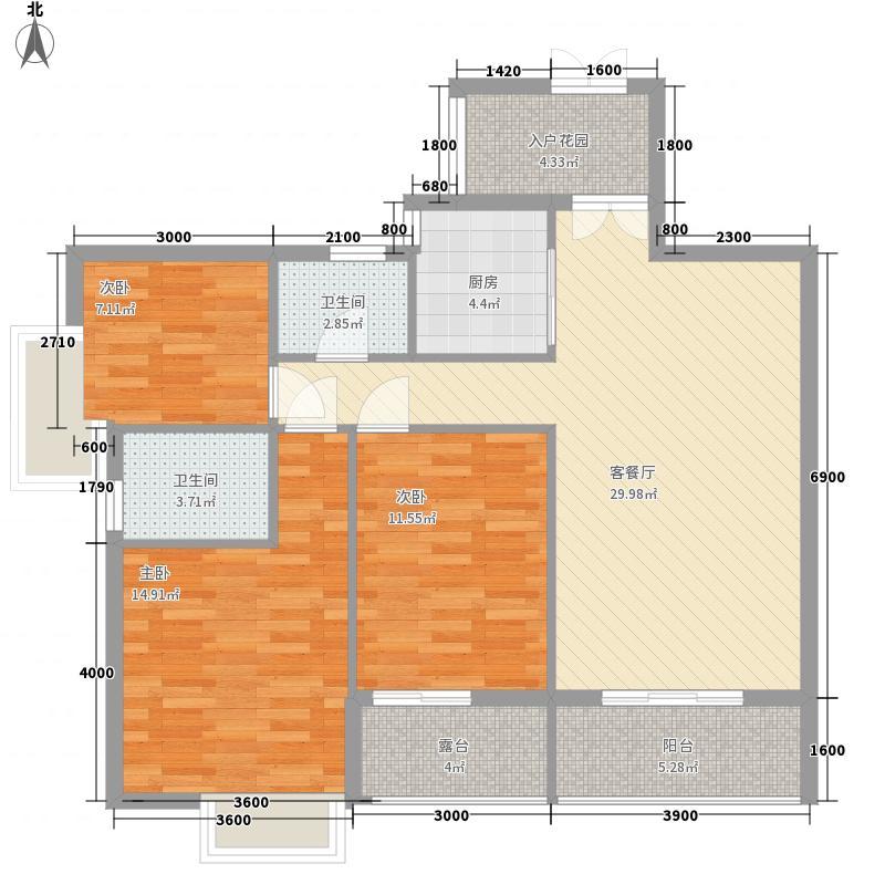 泰和・中央公园1.20㎡户型3室2厅2卫