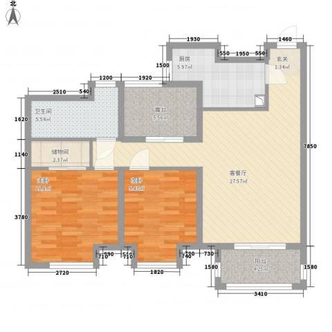 农房・名宿华府2室1厅1卫1厨72.48㎡户型图