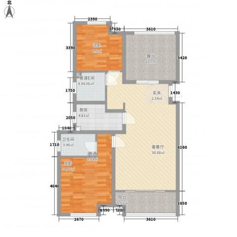 农房・名宿华府2室1厅2卫1厨117.00㎡户型图