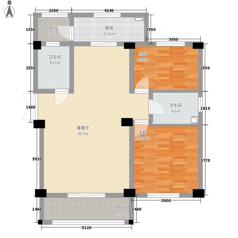 富春居中式庭院115.38㎡户型2室2厅2卫1厨