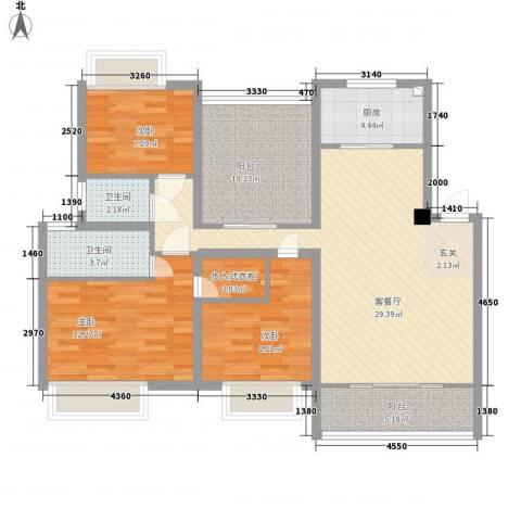 农房・名宿华府3室1厅2卫1厨122.00㎡户型图