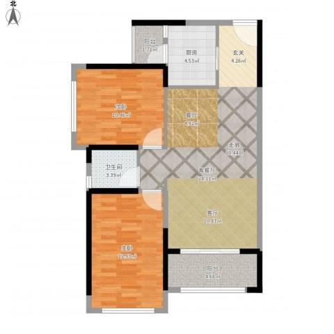名巨中央花园2室1厅1卫1厨91.00㎡户型图