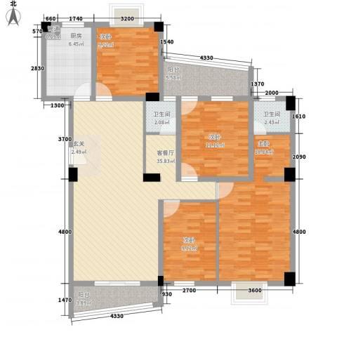 锦华金都4室1厅2卫1厨136.00㎡户型图